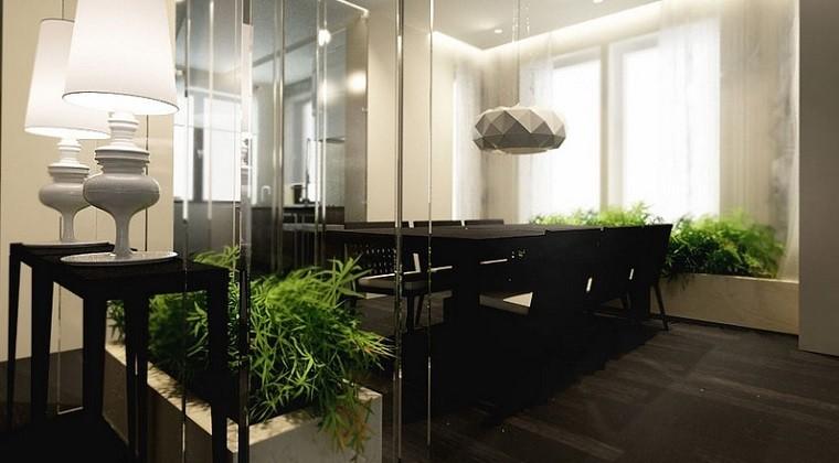 decoracion apartamentos modernos comedor natural plantas macetas ideas