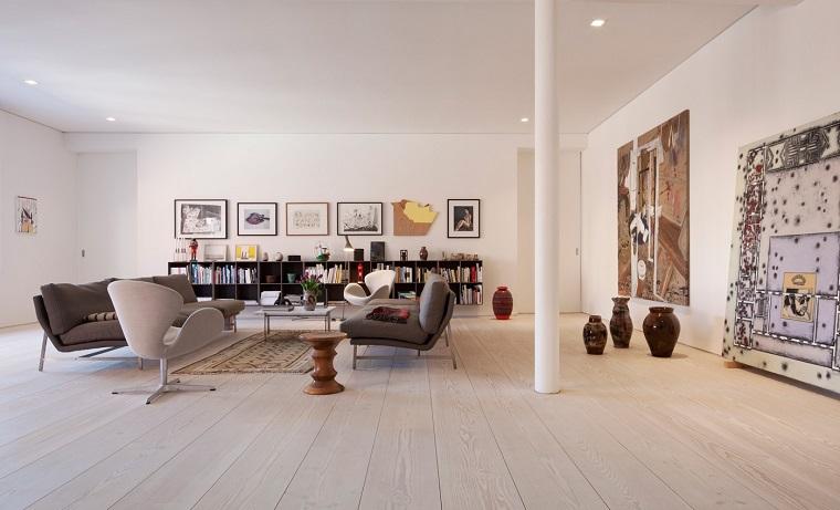 decoracion apartamentos modernos cuadros grandes jarrones ideas