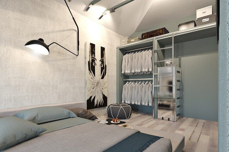 decoracion apartamentos modernos dormitorio cuadro pared armario abierto ideas