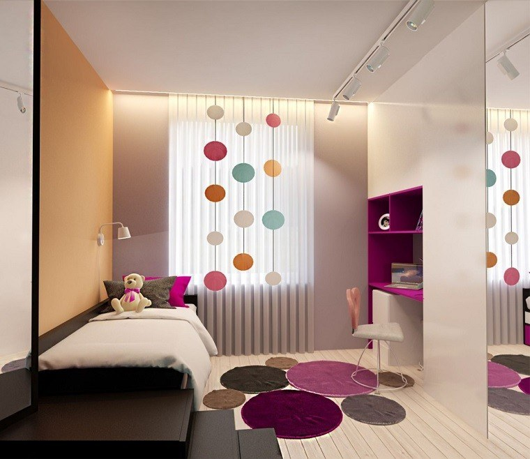 decoracion apartamentos modernos dormitorio juvenil alfombras redondas ideas