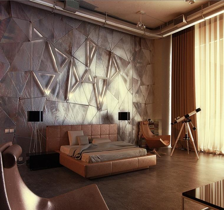 decoracion apartamentos modernos dormitorio oro plata ideas