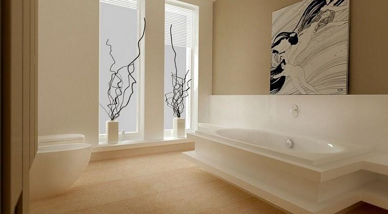 decoracion apartamentos modernos jarrones blancos ramas cuadro bano ideas