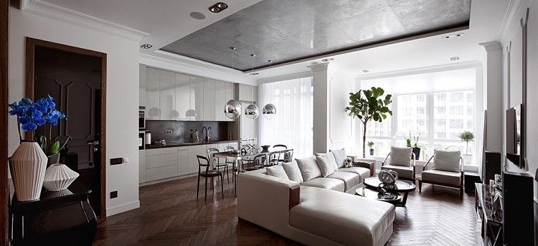 decoracion apartamentos modernos salon cocina macetas plantas ideas