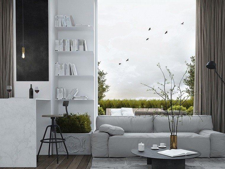 decoracion apartamentos modernos salon maceta planta fresca ideas