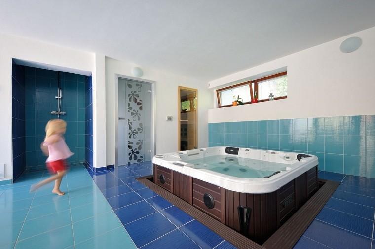 Decoracion Baño Azul:decoracion banos modernos amplio azul jacuzzi ideas