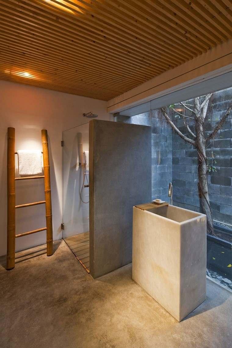 decoracion banos modernos escalera bambu lavabo granito ideas