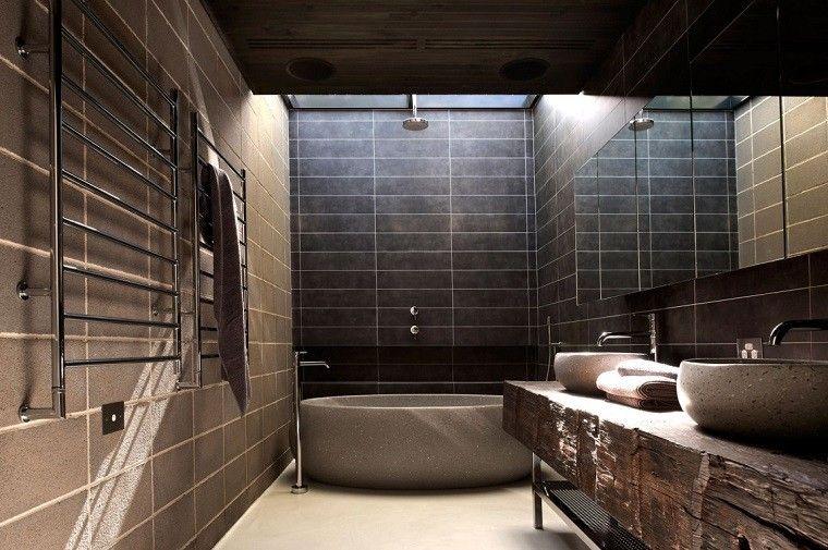decoracion banos modernos lavabo madera natural banera ideas