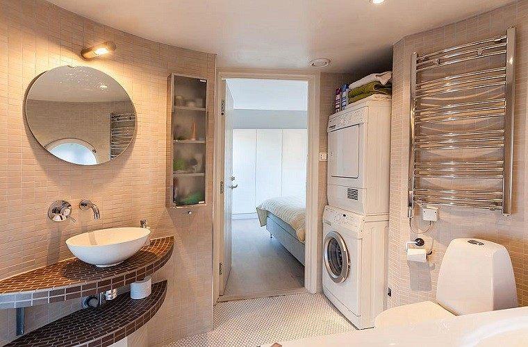 decoracion banos modernos lavabo mosaico espejo redondo ideas