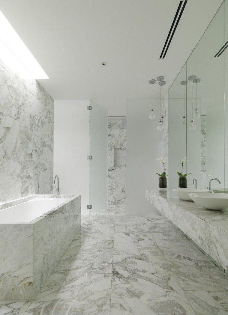decoracion banos modernos maceta losas marmol mampara ducha ideas