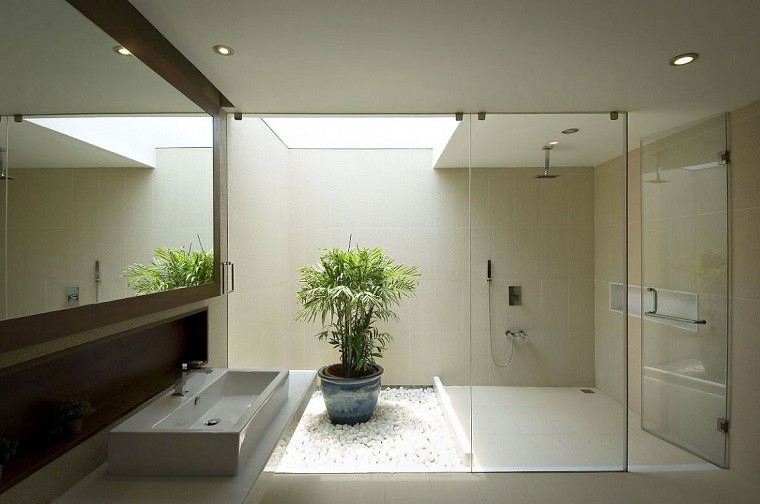 decoracion de baños baldos blancos maceta ducha ideas