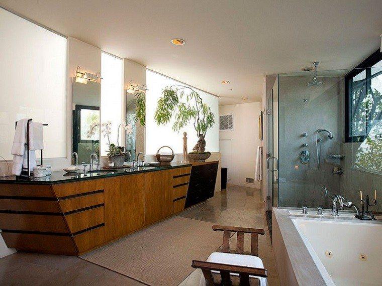 decoracion de baños lavabo grande madera plantas ideas