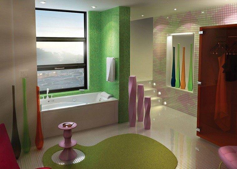 decoracion de baños mosaico blanco verde armario rojo ideas