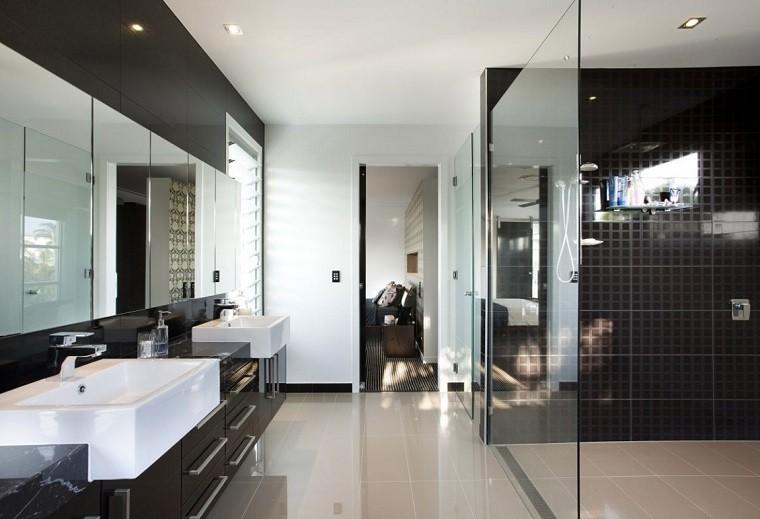 decoracion de baños paredes negras espejos grandes ideas