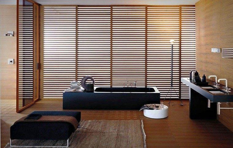 decoracion de baños taburete negro alfombra banera ideas