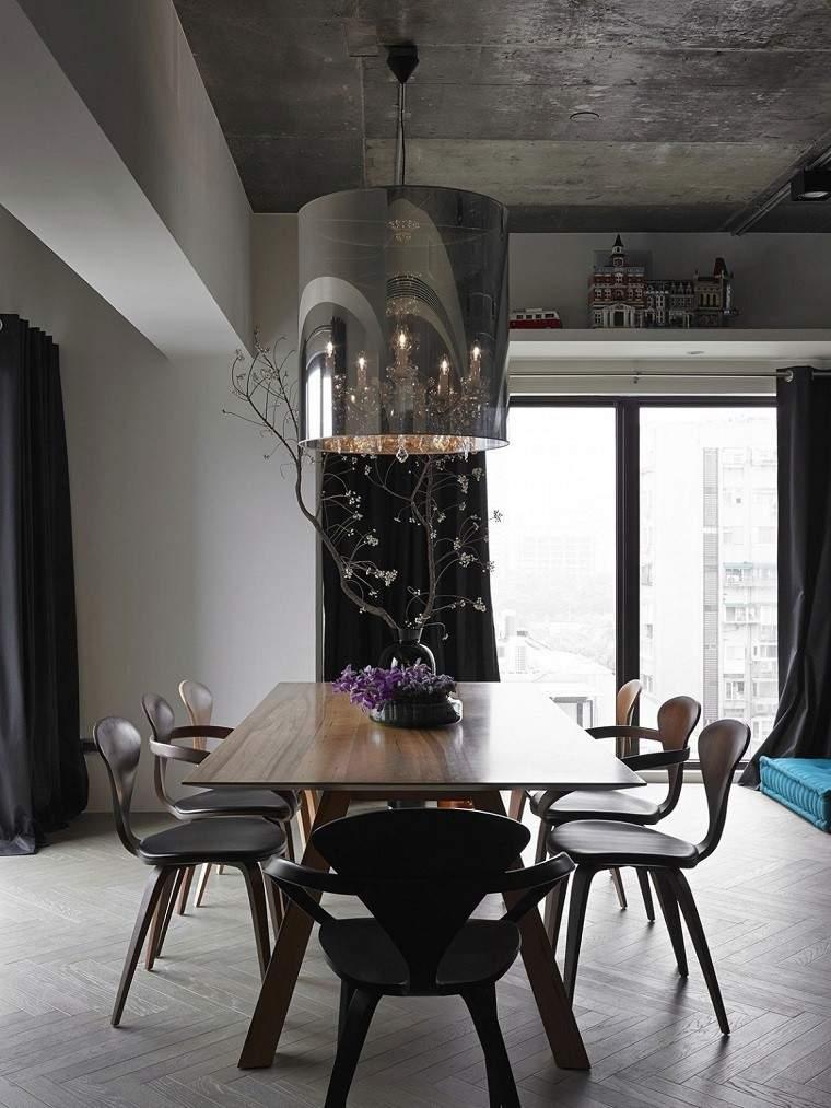 decoracion de cuartos comedor mesa sillas madera jarrones ideas