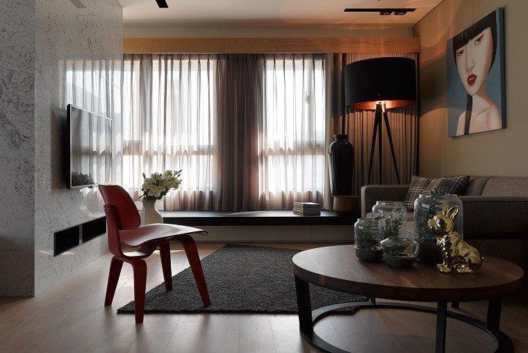 decoracion-de-cuartos-lampara-negra-jarrones-plantas-dentro