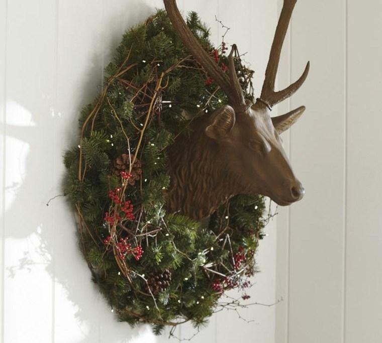 decoracion de navidad corona blanco natural