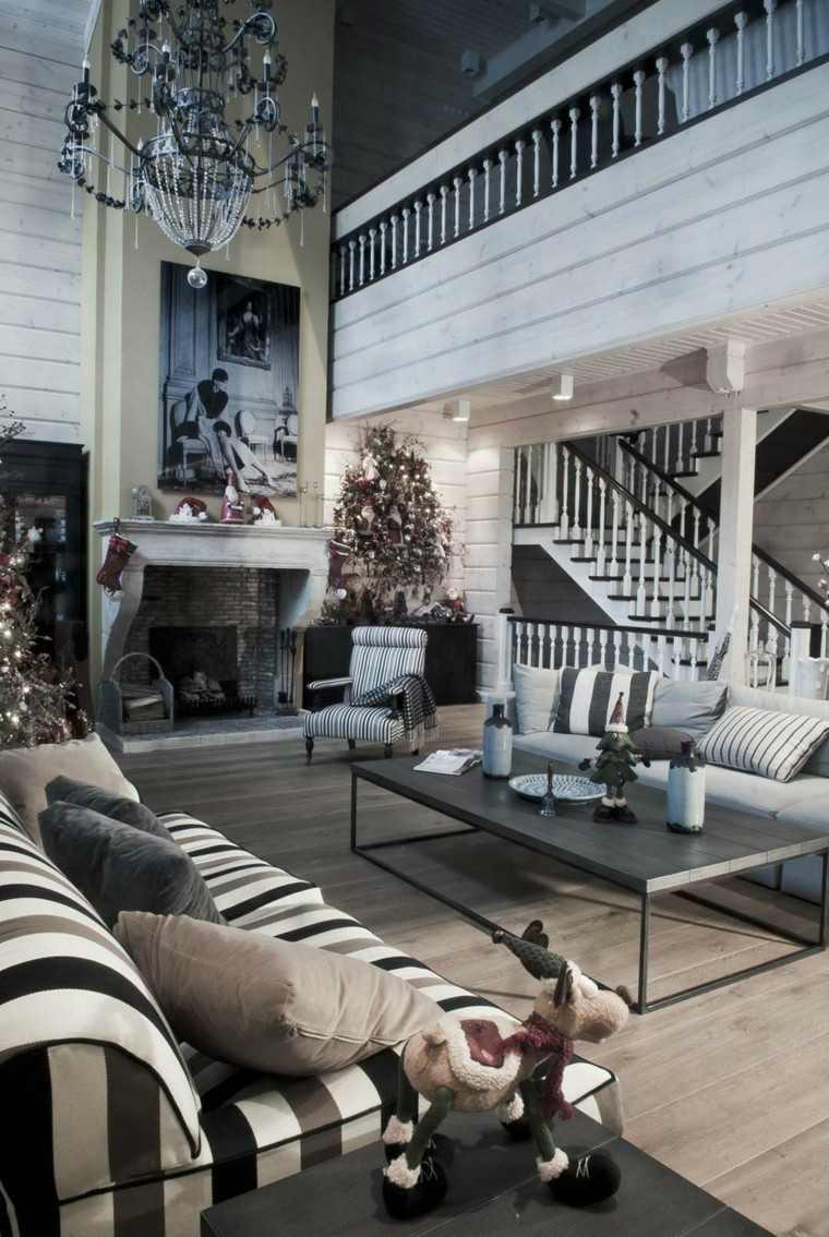 decoracion de navidad elegante casa rayas
