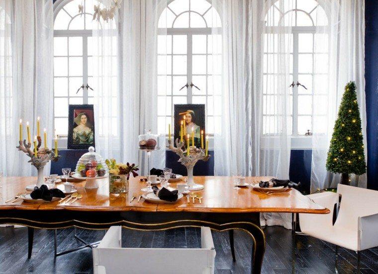 decoracion de navidad elegante mesa cortinas