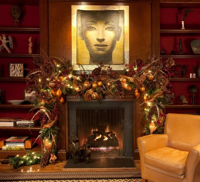 decoracion de navidad estilo americano chimenea guirnalda ideas