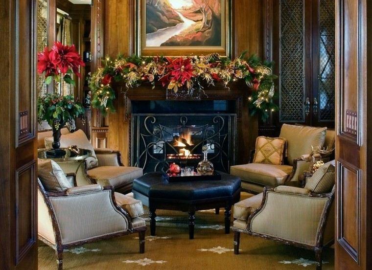 decoracion de navidad estilo americano salon chimenea ideas