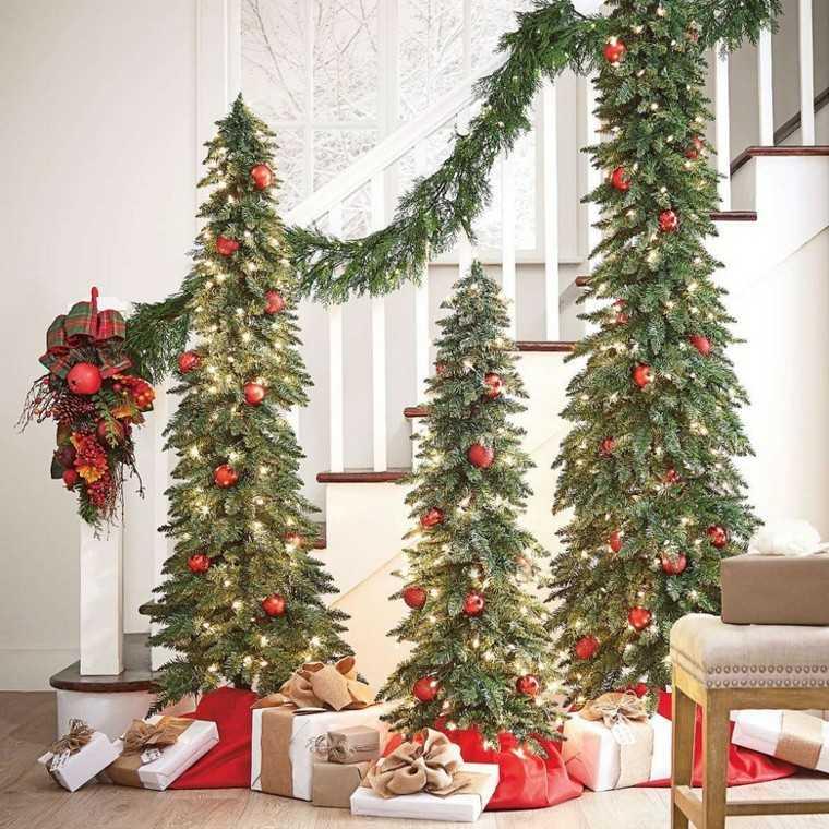 decoracion de navidad estilo americano tres arboles distinto tamano ideas