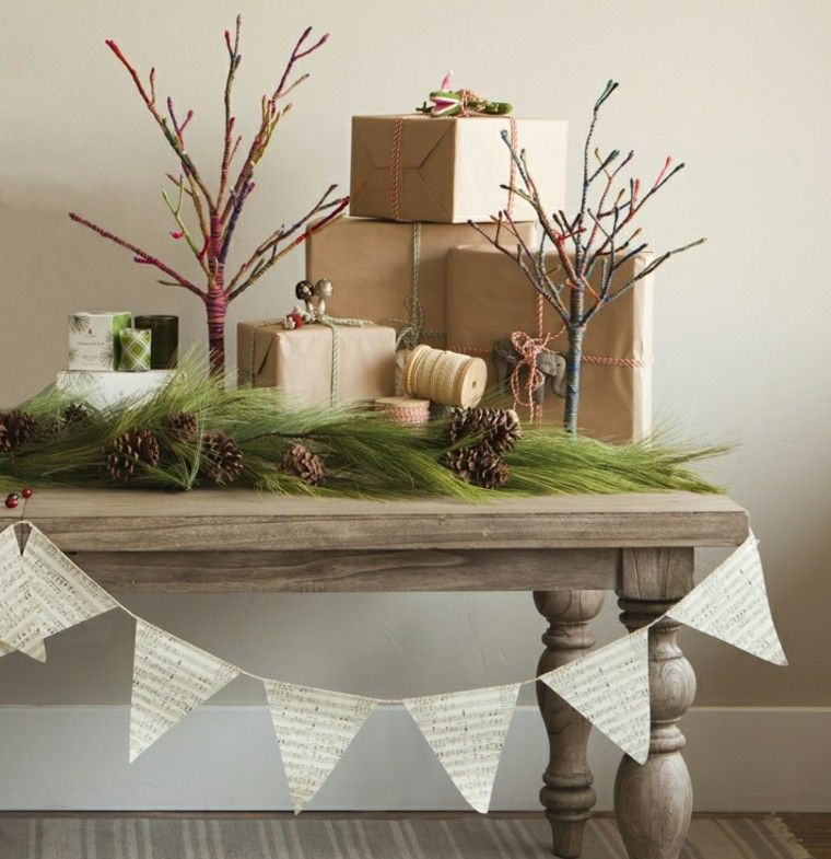 decoracion de navidad mesa paiaje ramas