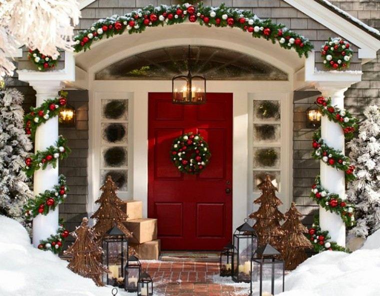 decoracion de navidad nieve exteriores rojo