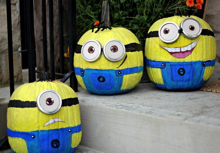 decoracion infantil diseño miniones exteriores calabazas
