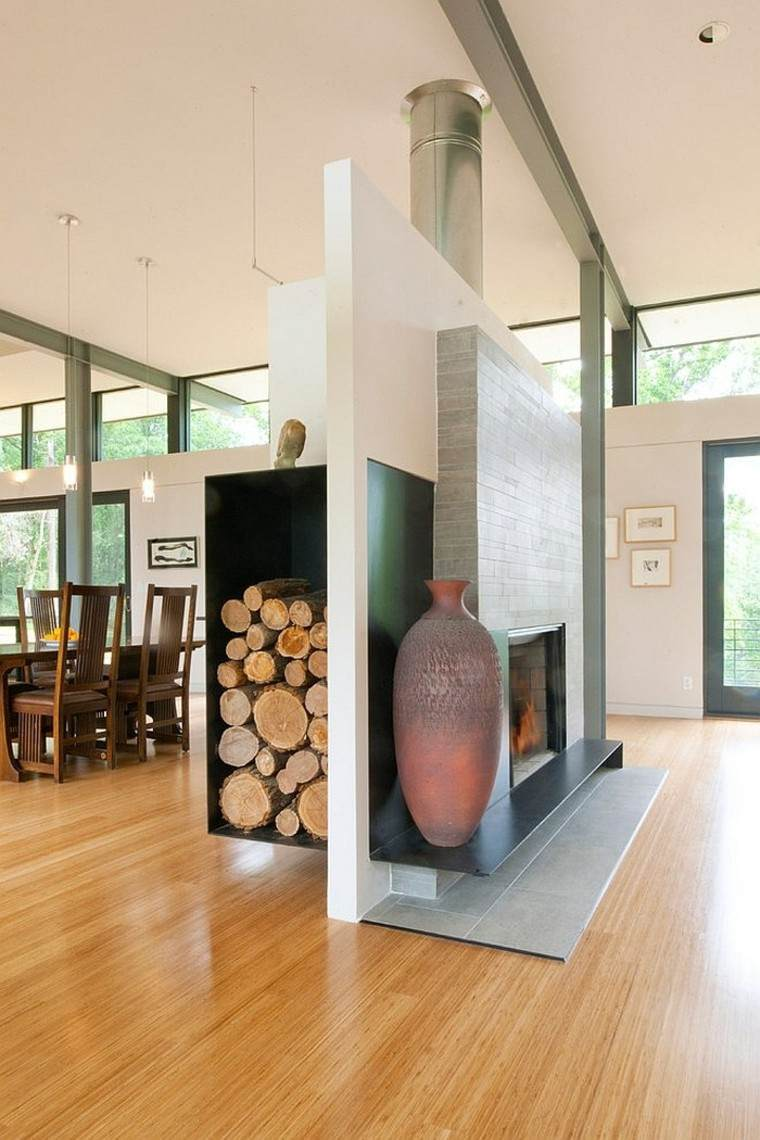 decoracion jarrones casa detalles leña