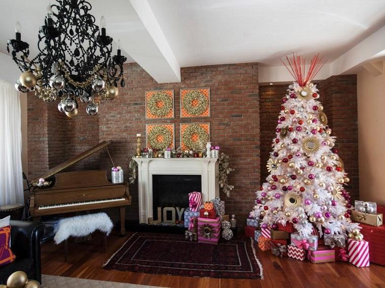 decoracion navidad arbol blanco regalo chimenea ideas