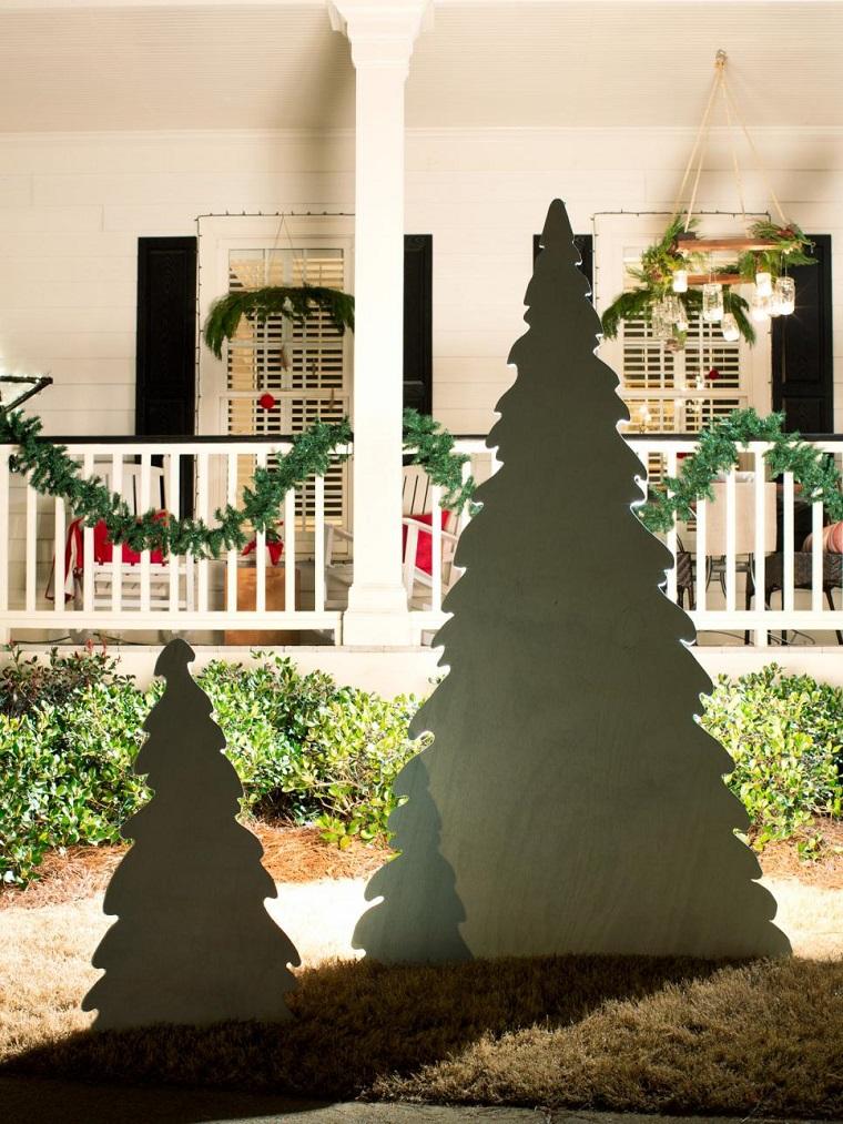 decorar navidad arboles madera negra exterior ideas
