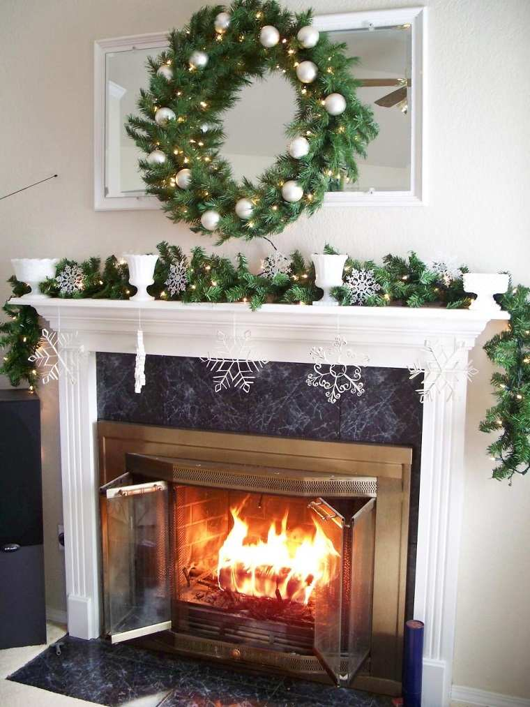 decoracion navidad chimenea guirnalda preciosa ideas