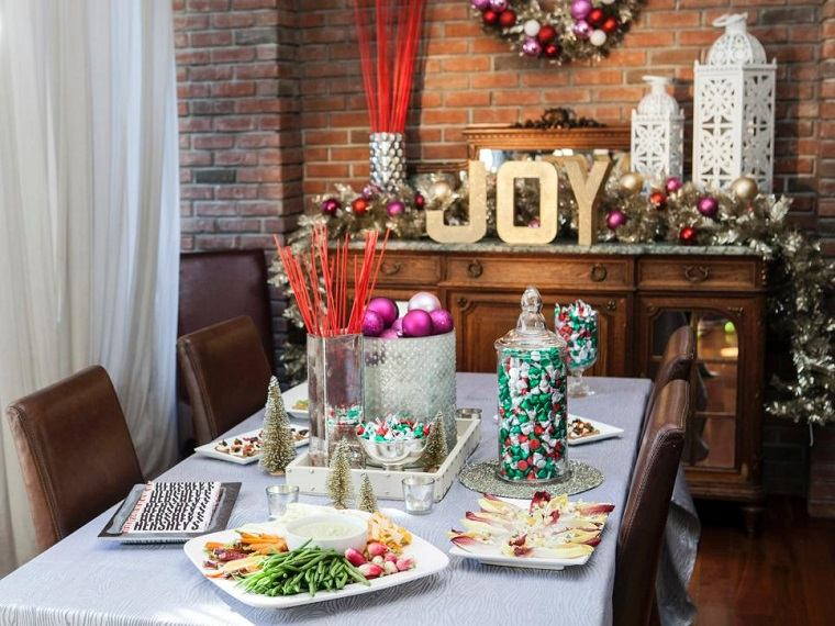 decoracion navidad comedor mesa arboles pequenos caramelos ideas