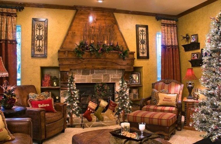 decoracion-navidad estilo americano arboles pequenos chimena guirnalda ideas