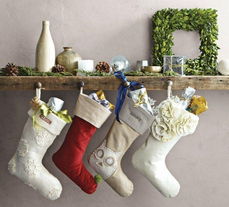 decoracion navidad estilo americano calzetines blancos ideas