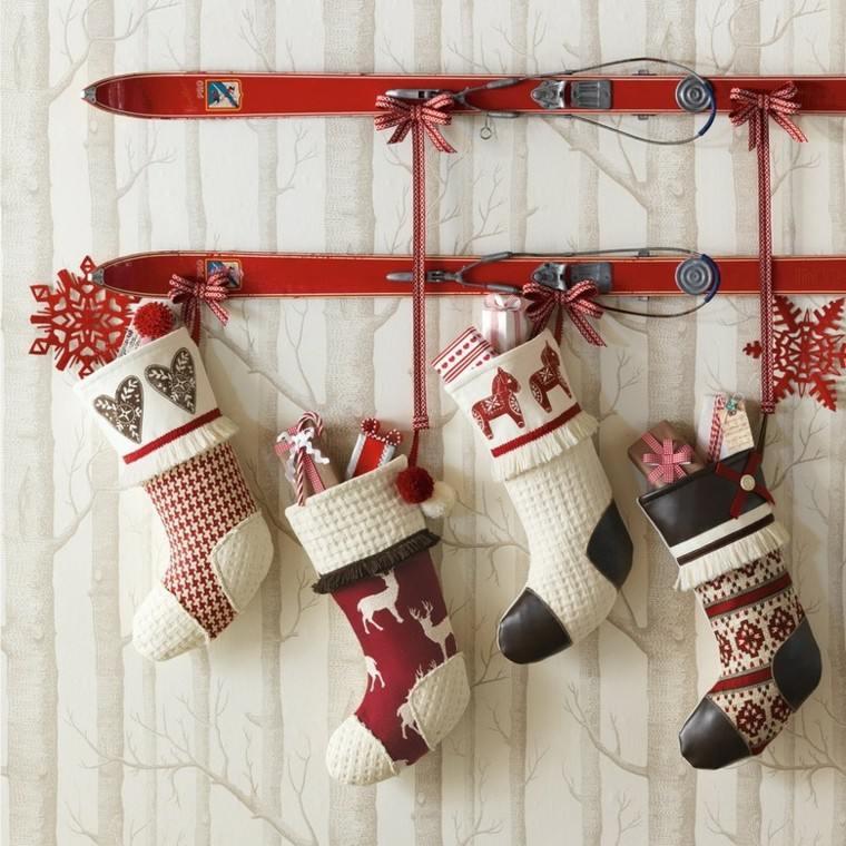 decoracion navidad estilo americano calzetines colgados pared ideas
