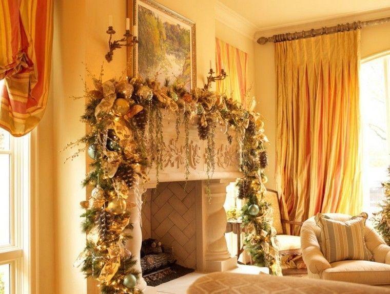 decoracion navidad estilo americano chimenea grande bolas ideas