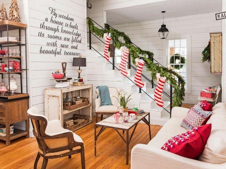 decoracion navidad estilo americano escalera calzetines ideas