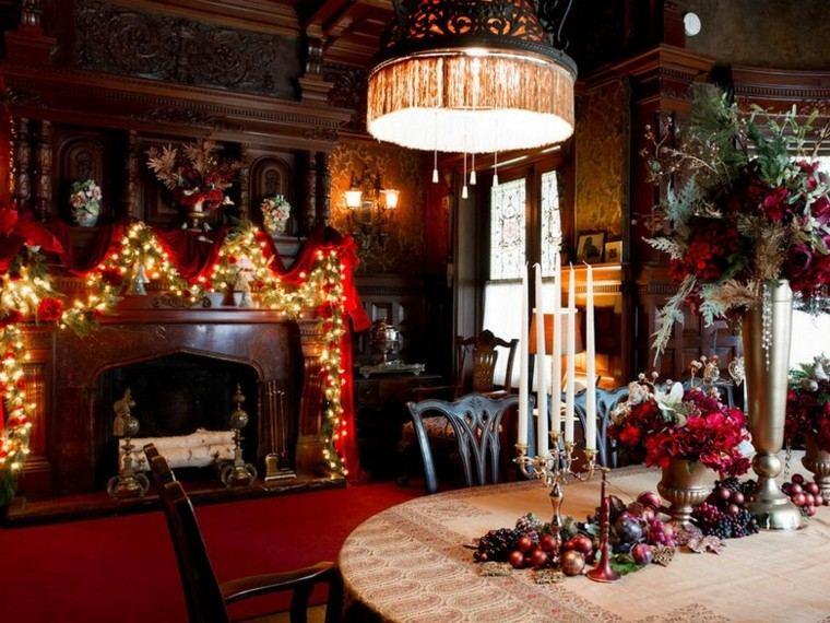 decoracion navidad estilo americano luces chimenea ideas