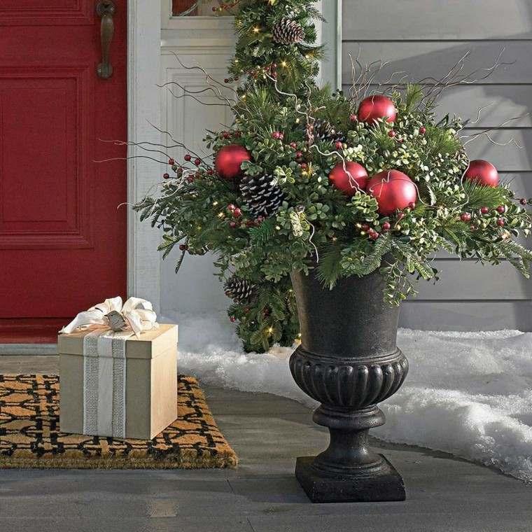 decoracion navidad estilo americano maceta entrada ideas