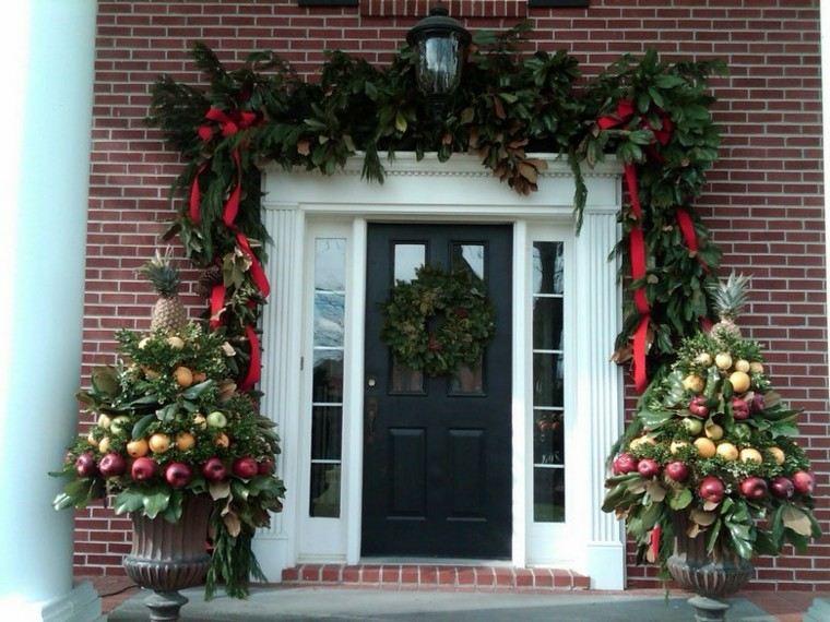 decoracion navidad estilo americano manzanas entrada ideas