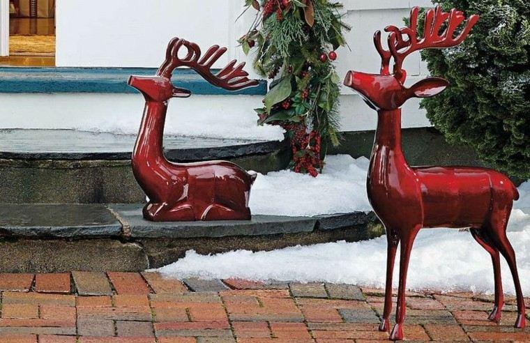 decoracion navidad estilo americano renos rojos ideas