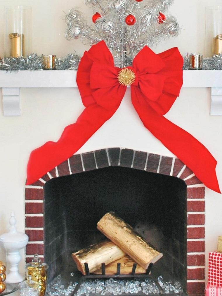 decoracion navidad lazo rojo decorando chimenea salon ideas