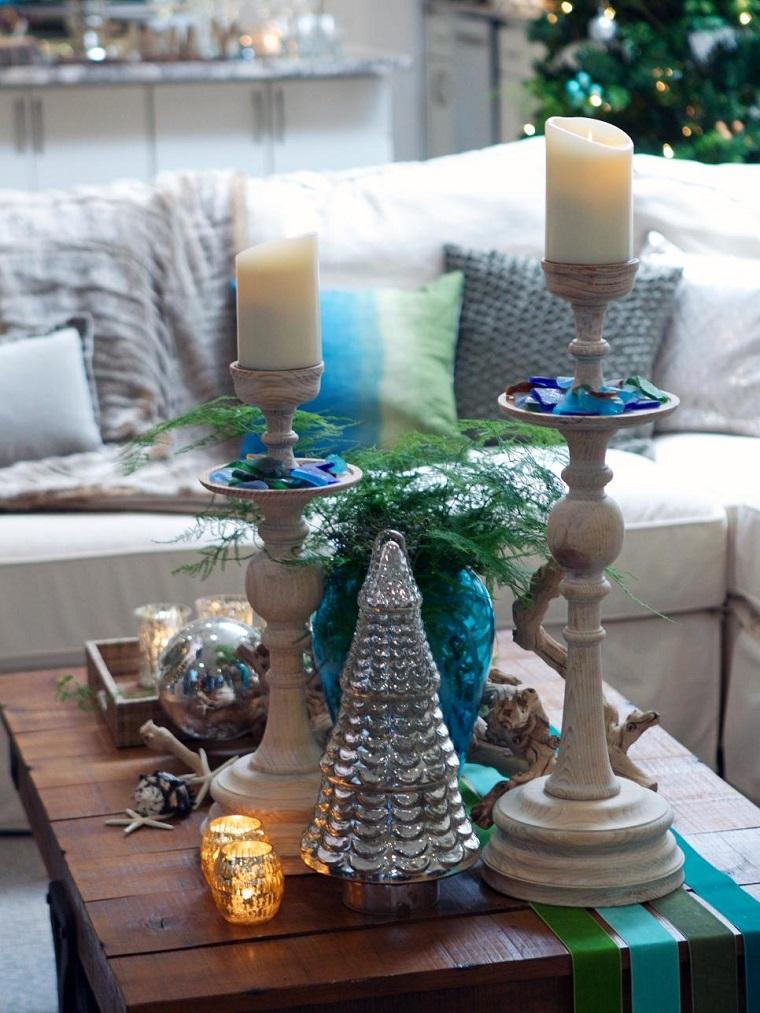 decoracion navidad mesa cafe arbol navidad pequeno color plata ideas