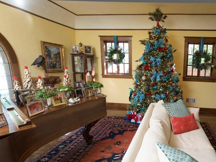 decoracion navidad piano arboles madera guirnaldas ventanas ideas