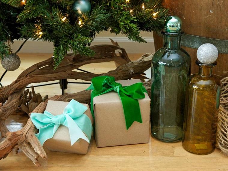 decoracion navidad ideas rama seca arbol regalos jarrones tapados bolas-