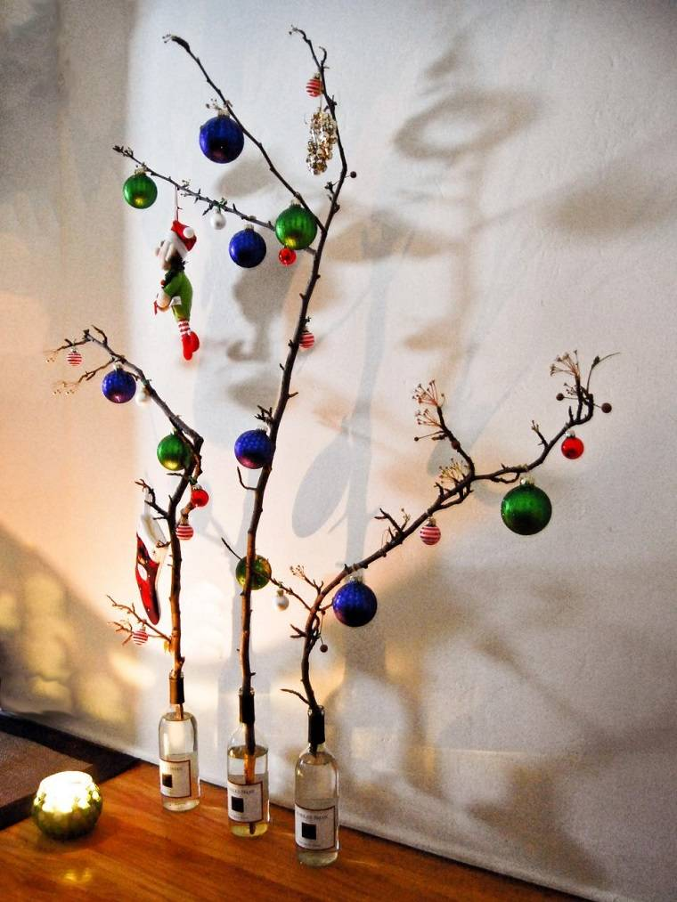 decoracion navidad ramas arbol botellas bolas ideas