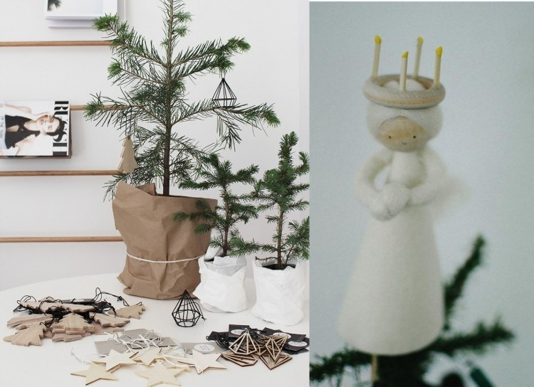 decoracion navidena escandinava angel adornos madera ideas