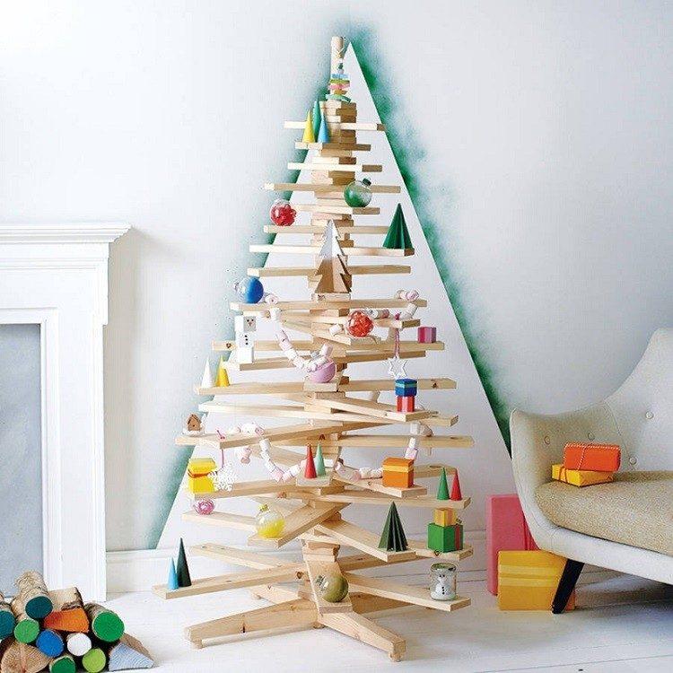 decoracion navideña escandinava arbol madera precioso ideas